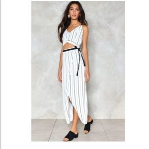 Nasty gal caught in the middle stripe midi dress S